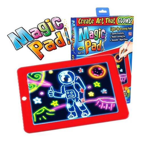 Tableta De Dibujo Magic Pad Tablero Mágico Luz Y Marcadores.