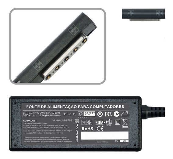 Fonte Carregado Para Notebook Surface Pro 2 1631 Tab 12v 786