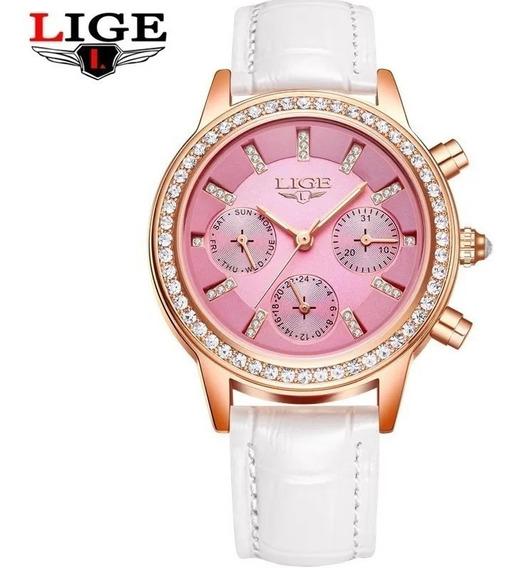 Relogio Feminino Lige Elegante Eluxuoso Em Couro Branco/rosa