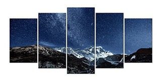 Pyradecor La Vía Láctea Sobre La Montaña Nevada 5 Paneles Pa