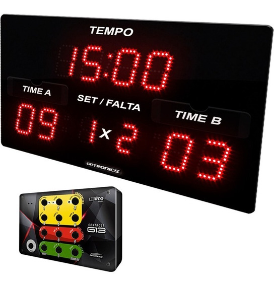 Placar Para Jogos De Futsal Com Cronômetro Faltas Pontos Set