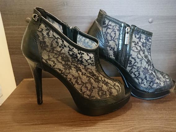 Tam 35 - Carmen Steffens - Sapato Peep Toe Preto Renda Couro