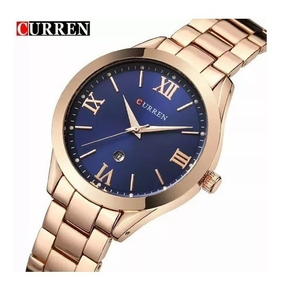 Relógio Feminino Rose Fundo Azul Luxo Curren Blanche 9007