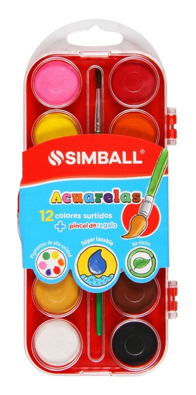 Acuarelas Con Tapa Acrílica X 12 Colores Con Pincel Simball