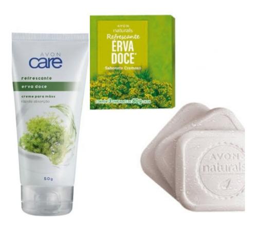 Imagem 1 de 4 de Kit Avon Naturals Erva Doce Creme Mãos, Sabonete, Desodorant