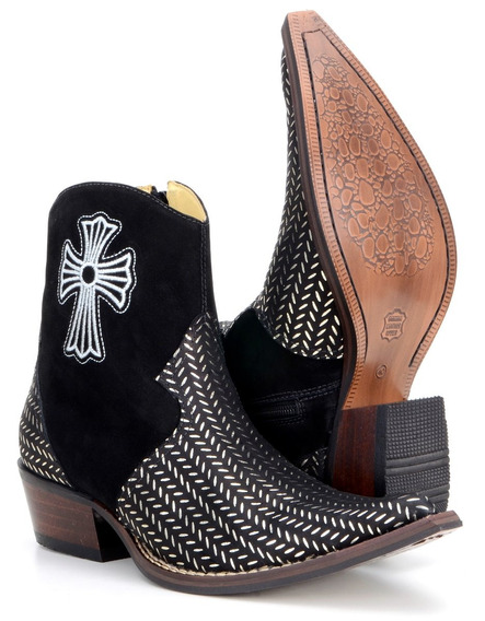 Bota Texana Country Masculina Couro Legitimo Bordado Confort