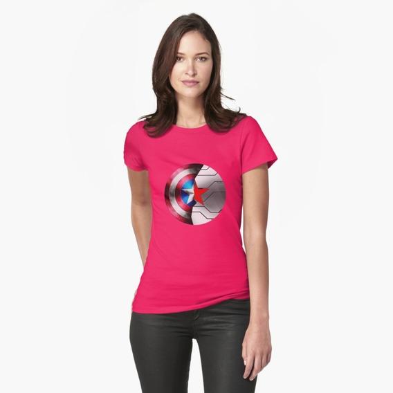 Camiseta Camisa Capitão América Vigador Vingadores Marvel Fãs Escudo Feminina 100% Algodão Ótima Qualidade