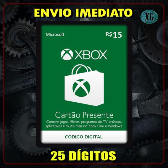 Xbox Gift Card 15 Reais Código 25 Dígitos [xbox Live]