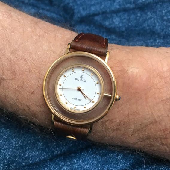 Relógio Nivel Omega Ouro Plaquê (não Maciço) 36mm Pierre Cardin Original E Assinado, Máquina Suiça, Cabochon Safira Raro