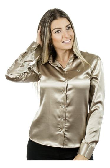 Camisa Cetim C/ Elastano Feminina - Camisete Cetim