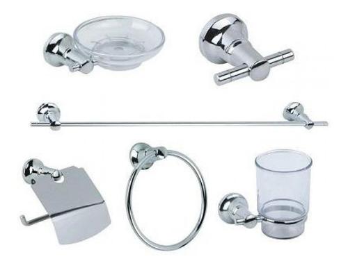 Kit Accesorio Set Baño 6 Piezas Metalico