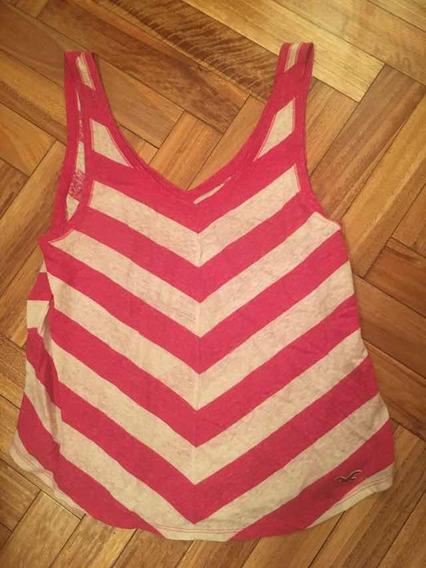 Musculosa Hollister Mujer Rosa Blanca Medium Importada