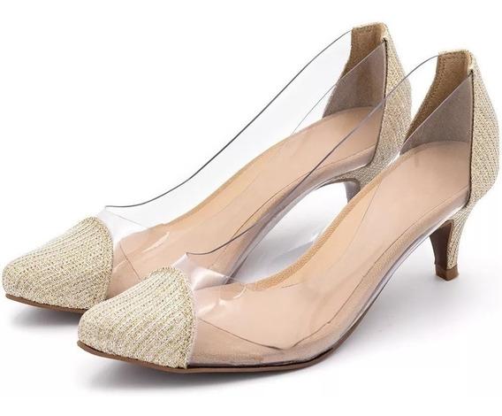 Sandália Sapato Scarpin Feminino Salto Baixo Transparente