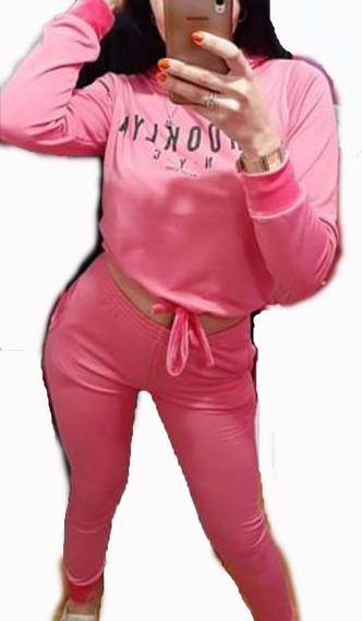 Conjunto Pantalon Y Buzo Mujer Combinado Plush Y Piel