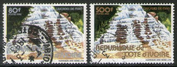 Costa De Marfil 2 Sellos Usados Cascadas De Man Año 1982