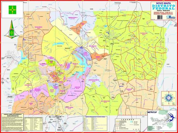 Mapa Distrito Federal -político-117 X 89 Cm - Frete Grátis