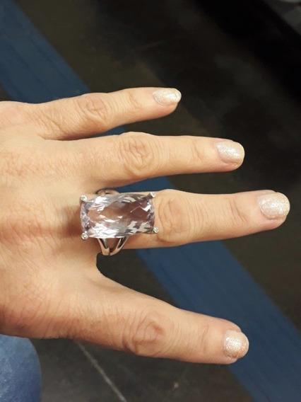 Belíssimo Anel Lisht Ouro Branco Com Ametista E Diamantes!!!
