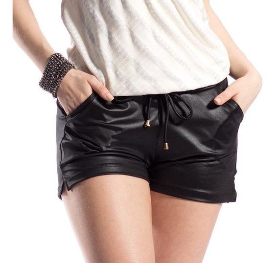 10 Shorts Feminino Cintura Alta Couro Bolso Cirre Hot Pants