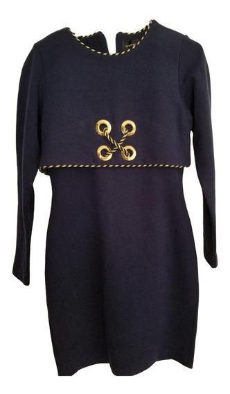Vestido De Mujer, Azul , Con Ribete Y Decoración Dorado