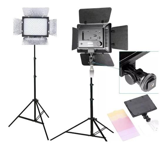 Kit Estudio Tripe Iluminador Led 300 Com Fonte Tomada Yn300
