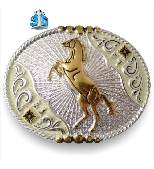 Fivela Ouro Boiadeira Country Especial 3d Cavalo Pelegrini