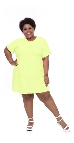 Vestido Camiseta Plus Size Wonder Size Amarelo Neon