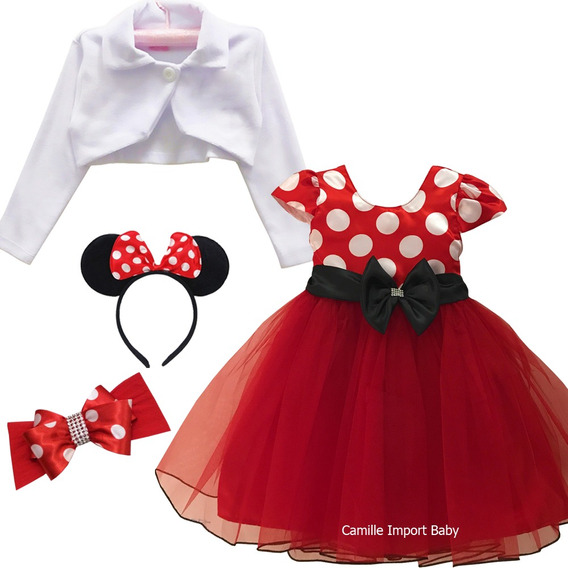 Vestido Festa Luxo Infantil Minnie Vermelha Tiara E Bolero