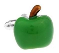 Mancuernillas Manzana Plateado Con Verde Acero D-903