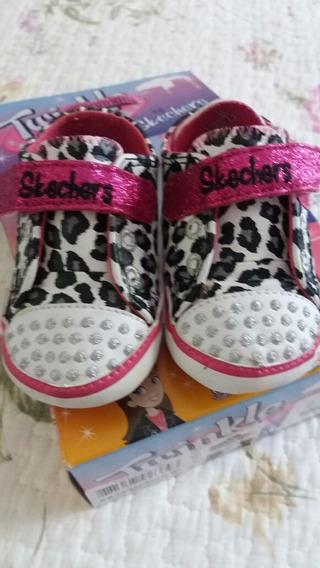 Tênis Infantil Oncinha Skechers Preto E Pink Tam 18 Bebê