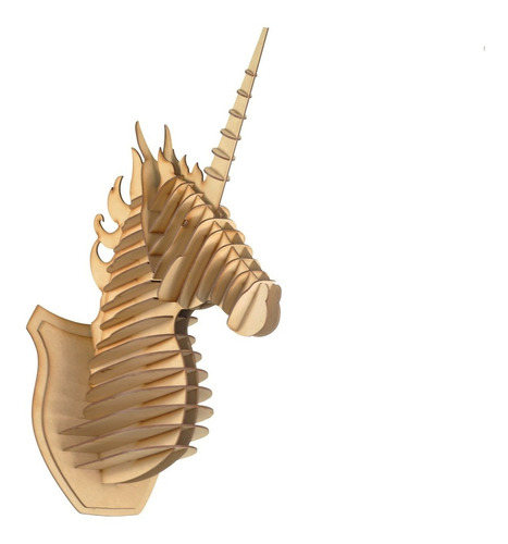 Imagen 1 de 10 de Cabeza Unicornio Mdf Cabeza De Animal Trofeo Rompecabezas 3d