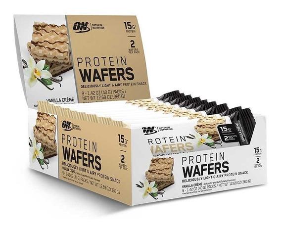 Wafers De Proteína Optimum Nutritio Sabor Vainilla (9 Packs)