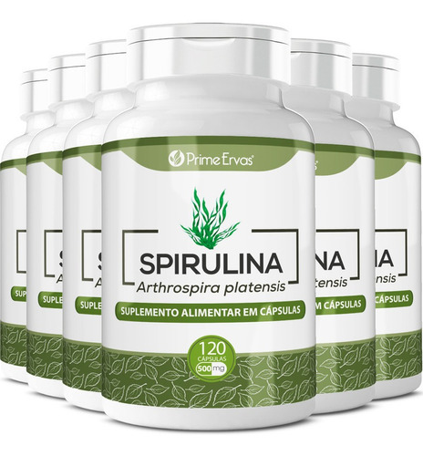 6 Potes De Spirulina 120 Cápsulas 500mg Cada Vida Ervas