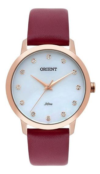 Relógio Orient Feminina Madrepérola Pulseira Couro Frsc009