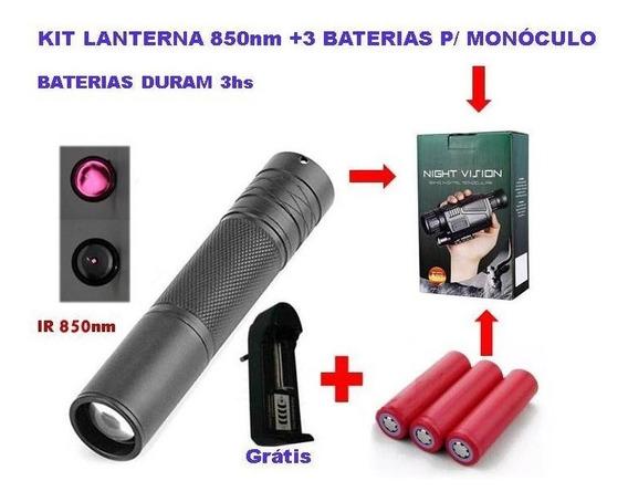 3 Baterias P/ Monóculo Visão Noturna + Lanterna Infravermelh