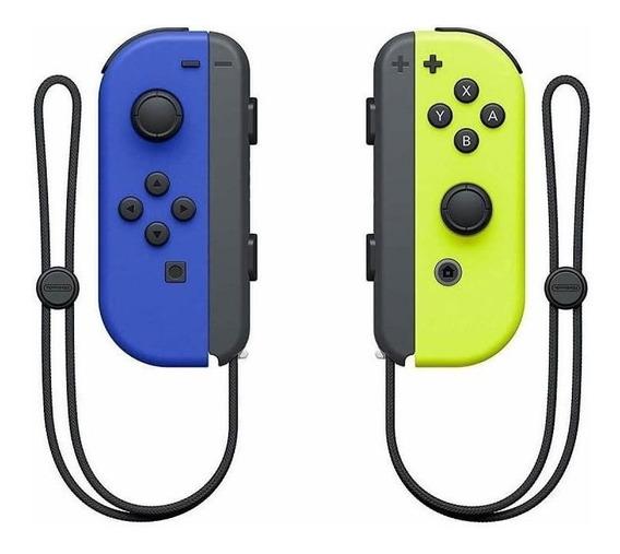 Controle joystick sem fio Nintendo Joy-Con azul/amarelo-néon