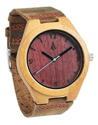 Reloj De Madera De Bambu Del Corazon De Los Hombres De Treeh