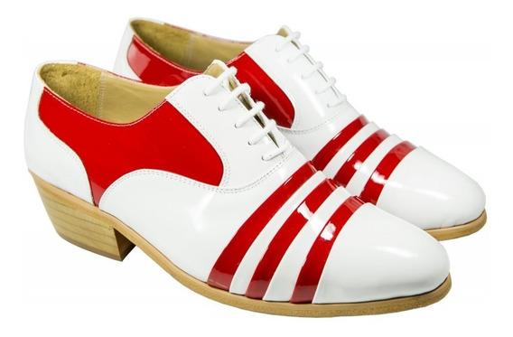 1 Sapato Masculino Bicolor Branco Com Vermelho Cantor Pastor