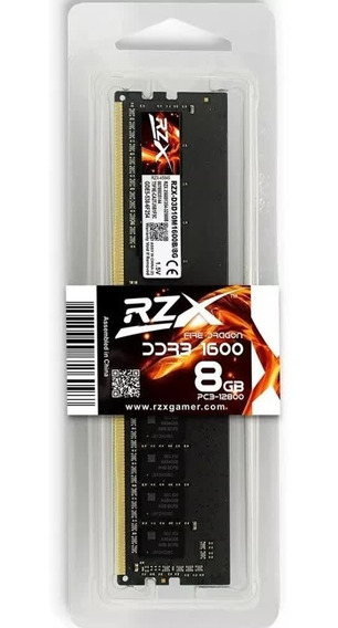 Memória Gamer 8gb Ddr3 1600mhz Rzx Fire Dragon