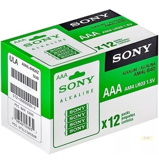 Pilha Aaa Alcalina Sony 12 Cartelas Com 4 Pilhas(48 Pilhas)