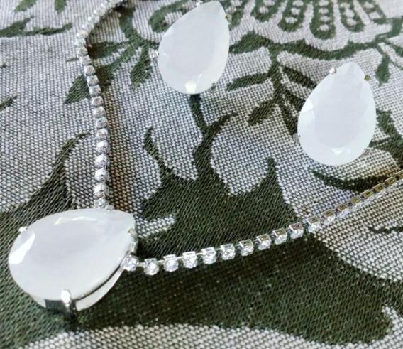 Conjunto Quartzo Branco. Colar E Brinco Pedra Branco Leitoso