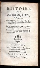 História Das Perucas - Curioso Tratado De 1779 - Imperdível