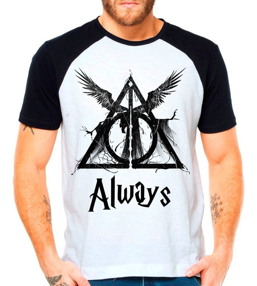 Camiseta Raglan Harry Potter Hp Reliquias Da Morte Hogwarts