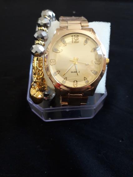Kit Relógio E Pulseira Dourada E Pedras Prateadas
