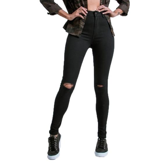 Calça Jeans Preta Hot Pant Destroyed Cintura Alta Lady Rock