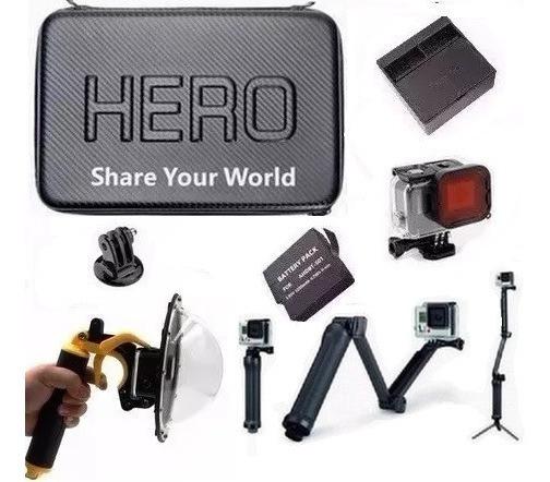 Kit P Gopro Hero 5 Hero 6 Hero 7 Black Dome 3 Way Carregador