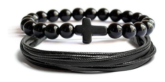 Kit 2 Pulseiras Masculina Bracelete Bolinha Crucifixo Cruz