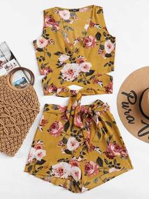 Conjunto Floral, Crop Top + Short