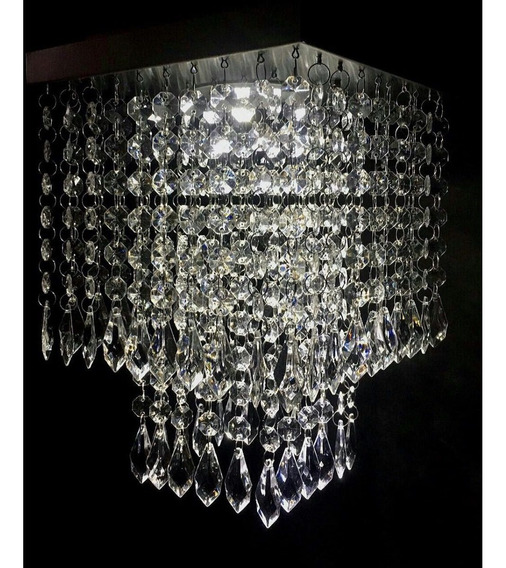 Lustre Pendente Cristal Acrílico 20x20 Sala Quarto Cozinha