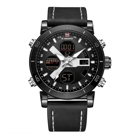 Relógio Masculino Preto Prata Digital Esportivo Naviforce