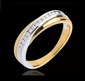 Anel 2 Tons Em Ouro 18 Quilate E Diamantes